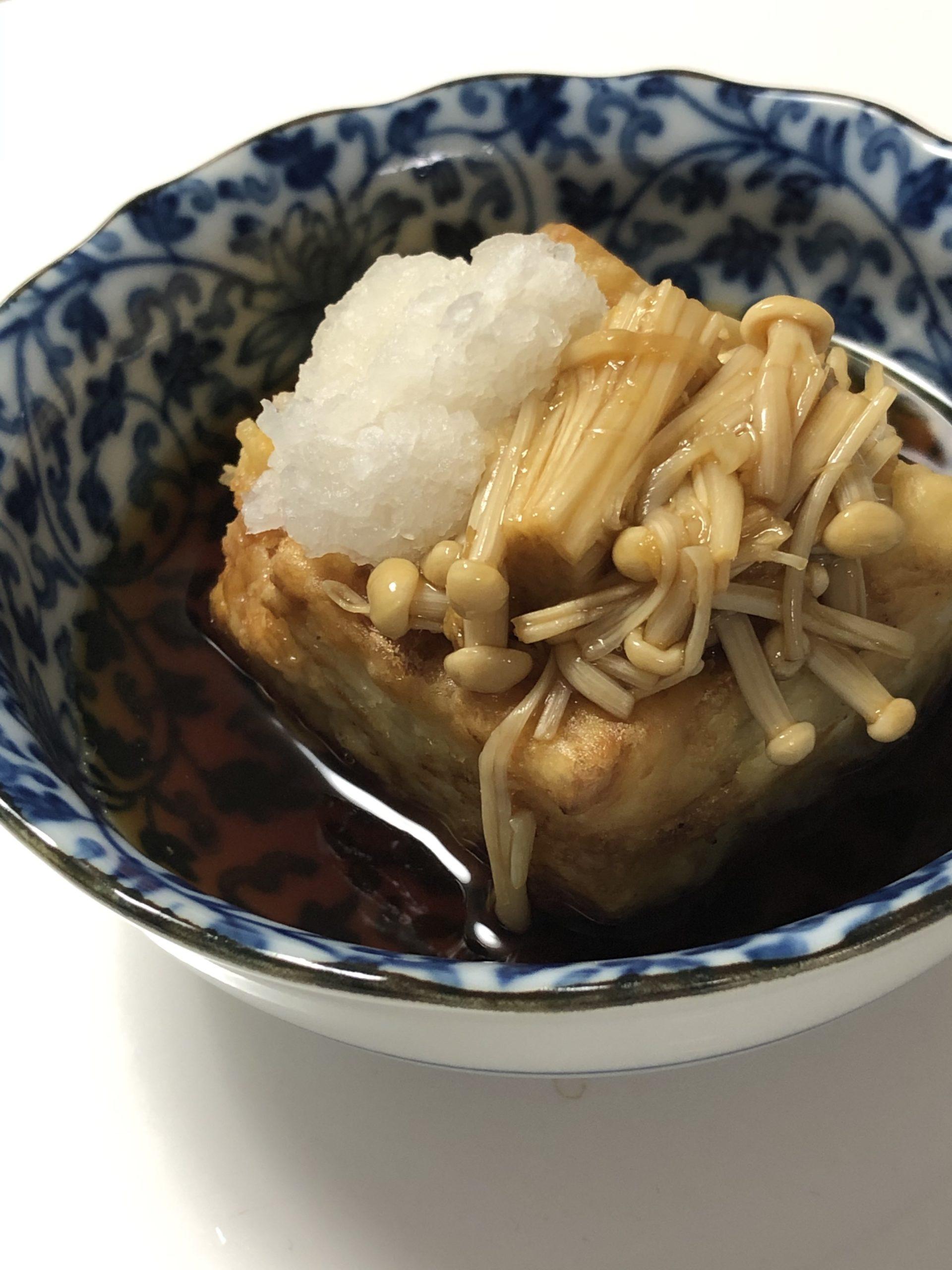 揚げ出し豆腐のエノキのなめ茸のせ